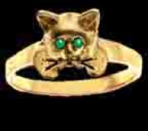 Gold Kitten Ring with Emerald Eyes