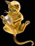 Gold Kitten with Pearl Ball Pendant or Pin