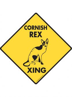 Cornish Rex Cat Crossing Sign