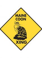 Maine Coon Cat Crossing Sign