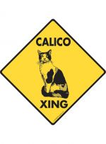 Calico Cat Crossing Sign
