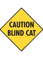 Caution Blind Cat Crossing Sign