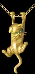 Gold Kitten with Emerald Eyes Pendant or Pin