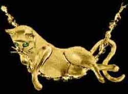 Gold Cat Lounge Pendant or Pin