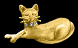 Gold Cat Sleeping with Diamond Collar Pin