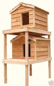 Large Double Decker Insulated Out door Cedar Cat House with Lounging Deck