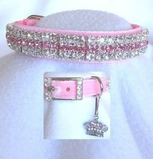 Princes in Pink Velvet Cat Collar