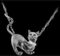 Sterling Silver Cat Love Pendant