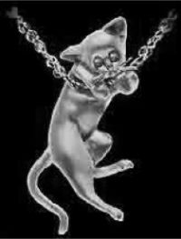 Sterling Silver Cat Chin on Chain Pendant