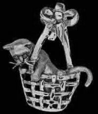 Sterling Silver Cat in Basket Pendant or Pin