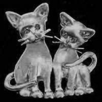 Sterling Silver Kitten Duet Pin or Pendant