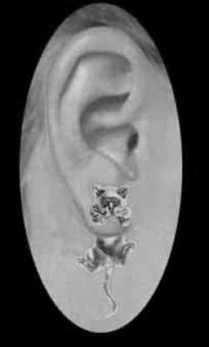 Sterling Silver Cat Thru the Ear Earring Stud & Jacket Set