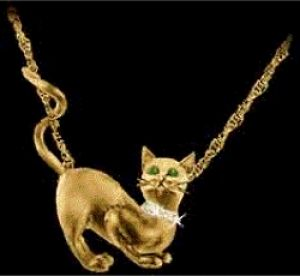 Gold Cat Love Pendant