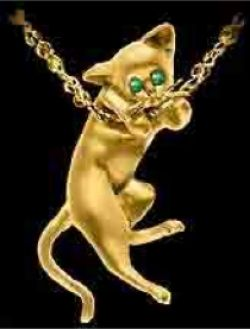 Gold Cat Chin on Chain Pendant