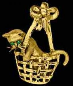 Gold Cat in Basket Pendant or Pin