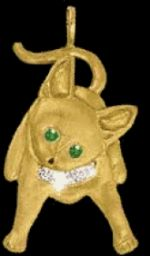 Gold Kitten with Diamond Collar Pendant or Pin