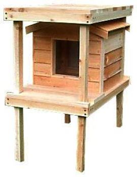 Small Insulated Outdoor Cedar Cat House with Platform and Loft