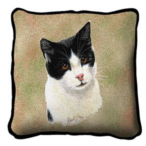 Black And White Short Hair Cat Pillow Cover