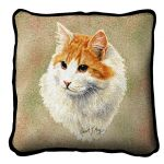 Red And White Short Hair Cat Pillow